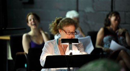 "Jo Howarth Noonan ""Reverend Mojo"" in a EWL reading of Topher Payne's EVELYN IN PURGATORY"