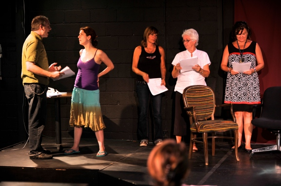 Matt Myers, Megan Hayes, Stacy Melich, Bobbie Elzey, Sherry McCook in an EWL reading of Topher Payne's, EVELYN IN PURGATORY