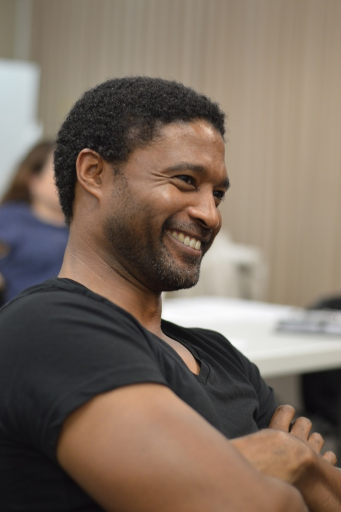 Theroun D'Arcy Patterson in EWL rehearsal for his play THE CANNIBALS