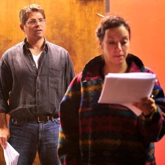 Suehyla El- Attar and Brian Kurlander in an EWL rehearsal of Patricia Henritze's ANTHONY+CLEOPATRA UNDONE