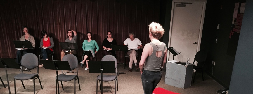 Dina Shadwell, Sarah Wallis, Barrett Doyle, Ann Marie Gideon, Rose Alexander, Lowrey Brown and Amber Bradshaw in a Bare Essentials rehearsal for Caleb Zane Huett's THE END OF WILLIAM HENRY
