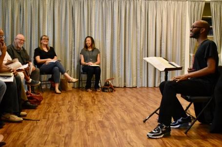 "Reginald Edmund teaching ""Playwriting as Activism"" 2017"